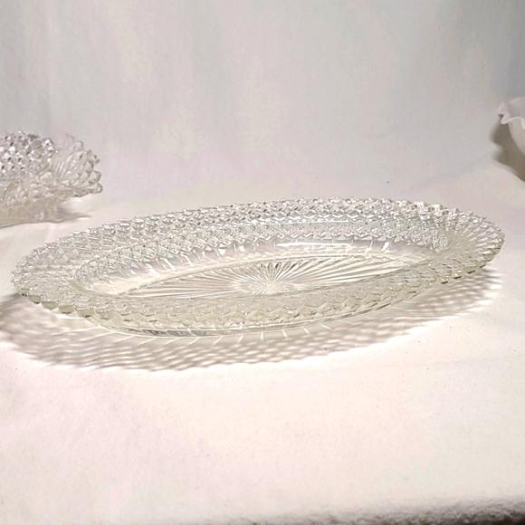 Vintage Indiana Glass diamond point pattern dish